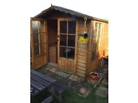 Summer House 7ft by 7ft All wood, carpeted, approx 1 year old, screwed together for ease of moveing