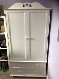 WARDROBE, WHITE WITH TWO DRAWERS