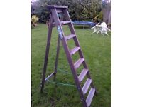 tall very well built vintage wooden ladder in very good condition