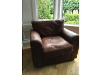 Rustic genuine brown leather couch and chairs
