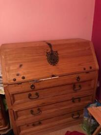 Mexican pine writing bureau