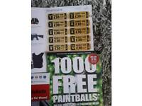 20 paintball tickets plus 1000 paintballs