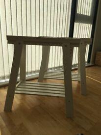 2 x Ikea white Finnvard Trestle with shelf