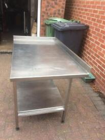 Stainless steel prep catering table