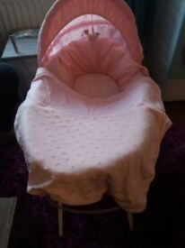 PRETTY PINK PADDED MOTHERCARE MOSES BASKET/STAND