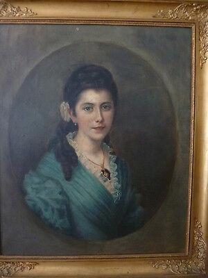 PORTRAIT einer jungen Dame Frankreich um 1900 Öl/Lw.