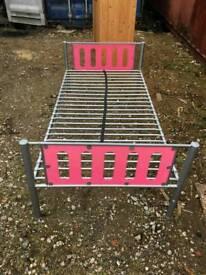 Single pink girls bed