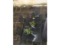 Garden furniture wrought iron table, double bench and three chairs