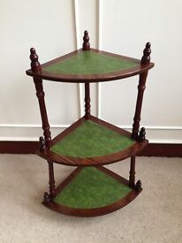 Antique Style Hard Wood Wot Not Display Stand Corner Shelf 3 Tiers Green