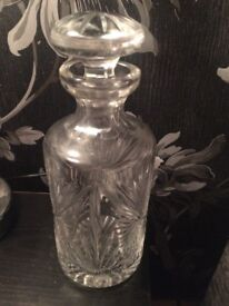Glass decanter possibly crystal.