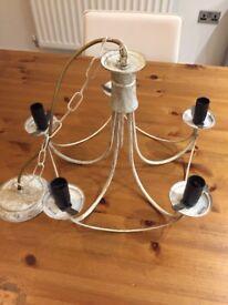 White / brass vintage style chandelier