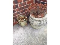 Garden concrete plant pots for sale set of two
