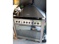 Large free standing 5 gas burner cooker with Electric Oven nd Hood