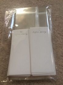50 X JEWELLERY DISPLAY CARDS 11cm x 5 cm WITH CELLOPHANE HANGING BAGS 19 CM X 6 CM