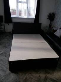Double bed base with headboard.
