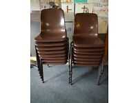 Brown plastic stackable chairs