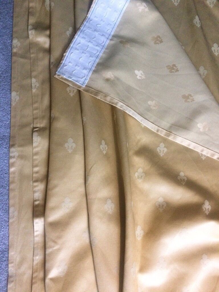 House Clearance Two Gold Satin Curtains Very Shinning