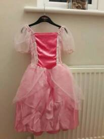 Girls pink fairy fancy dress with cape age 3 to 5 in good condition