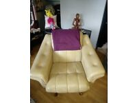 Original 1970's sofa and 2 chairs as new one static chair one swivel/rock sofa click bed & storage
