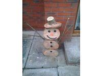 Log Snowman reindeer