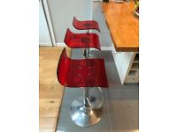 3 acrylic red bar stools - good condition