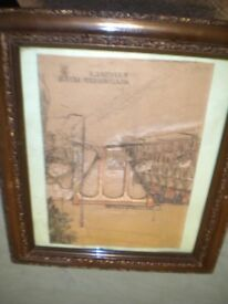 A WATER COLOUR PAINTING OF THE WESTFIELD FLIER TRAIN AND VIADUCT NICE FRAME