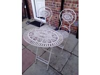 Iron Garden Table and Two Seats