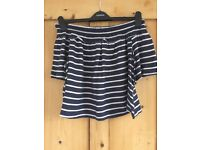 Topshop off the shoulder blue and white striped top Size 14