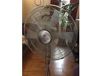 Standing Fan 40cm Brushed Chrome, adjustable - with remote