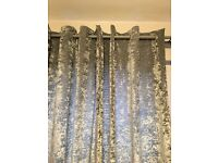 Next grey crushed velvet curtains 90 x 90