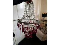 Light / lamp shades new. Unused crystal drop. Silk Gold antique, and art deco white