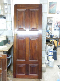 PAIR HANDSOME HEAVY MAHOGANY DOUBLE DOORS OVERLAPPING WIDTH APPRX 155.5cm + FITTINGS GOOD CNDTN