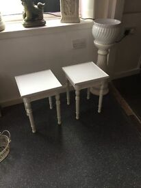 SIDE TABLES. MATCHING PAIR. SOLID WOOD. FINISHED IN WHITE. SHABBY CHIC
