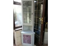 LUSH TALL SHABBY CHIC CORNER CABINET INCLUDES DELIVERY.