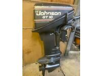 Johnson gt 10hp short shaft 2 stroke outboard boat engine and fuel tank