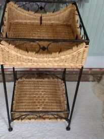 Wicker and'antiqued'metal occasional table