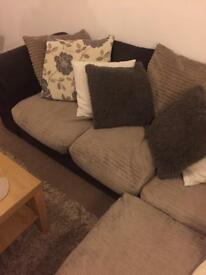 Brown & beige corner couch