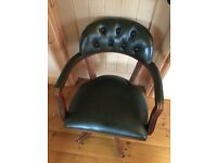 Green Leather Chesterfield Style Captain Swivel Office/Desk Chair