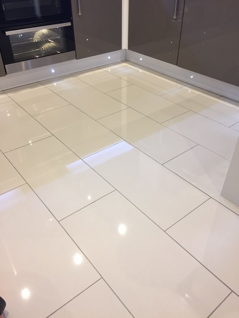 7.2m squared, Polished ivory floor tiles 600x300 and 5 bags of ...