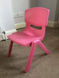 Kids Pink Plastic Chair