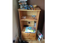 Pine shelf with drawers
