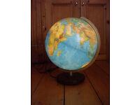 Large German Lanquage Illuminated World Globe 33cm Political Map