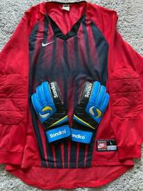 Goalie kit including finger save gloves, Astro turf boots and boys LFC shorts