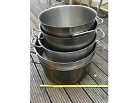 5x Commercial Stainless Steel Stockpots