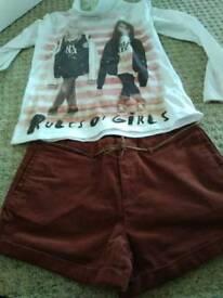 Zara Cream top and brown shorts