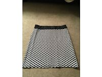River island size 10 mini skirt, black and white