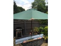 Wooden green garden parasol 2.7m