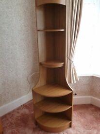 Teak Corner Shelf Unit