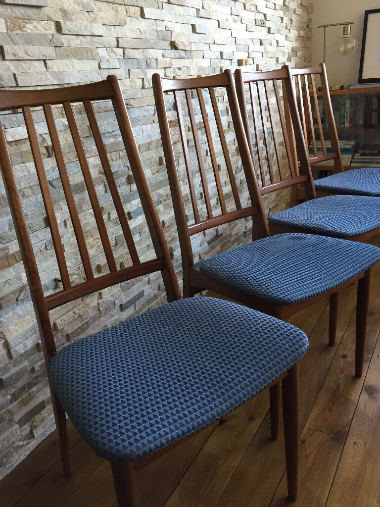 Teak Dining Chairs Retro 1970s With Geometric Fabric