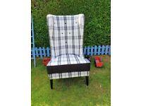High back chair. Black white check.feature chair